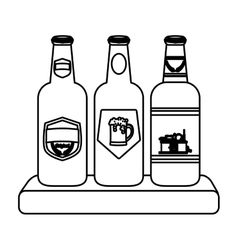 contour bottles of beer icon image vector image