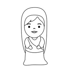 cute virgin mary character vector image