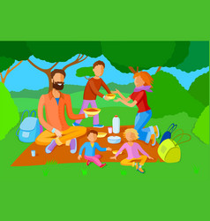 family on a picnic vector image vector image