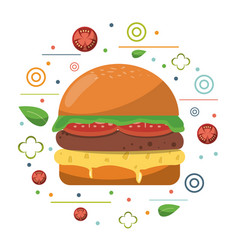 Fast food hamburger cheese tomato lettuce poster vector