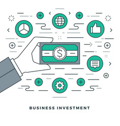 Flat line business management and investment vector