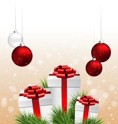 gift boxes with pine branches and Christmas balls vector image