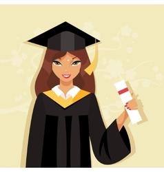 Girl graduate vector image vector image