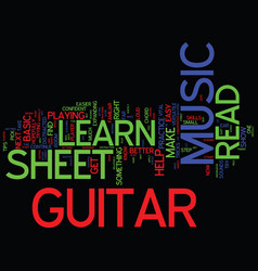 Learn to read guitar sheet music text background vector