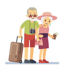 old people travelers on holiday smiling vector image