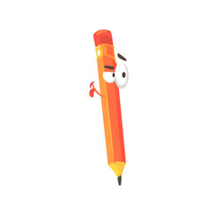 orange cartoon pencil comic character humanized vector image