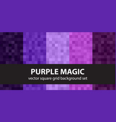 Pixel pattern set purple magic seamless pixel vector