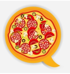 Pizza speech bubble vector image vector image
