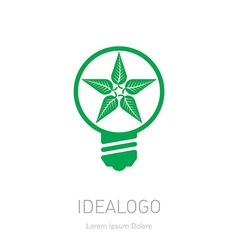 Plant growing inside the light bulb Green eco vector image