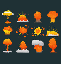 retro cartoon explosion icon set vector image