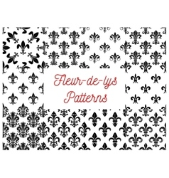 Royal french lily fleur-de-lys seamless patterns vector image vector image