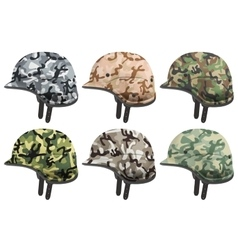 Set of military modern camouflage helmets side vector