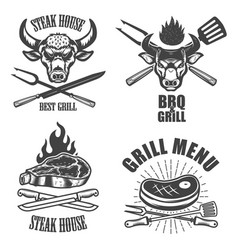 set of steak house emblem templates bbq grill menu vector image vector image