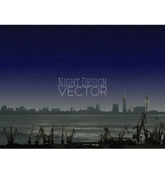 Shipyard and city landscape night design vector