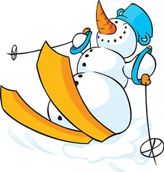 Snowman skiing in the snow - funny vector