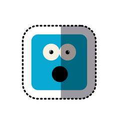 Sticker square colorful shape emoticon puzzled vector