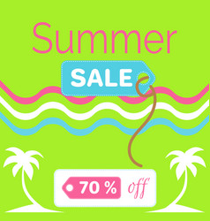 summer sale poster with 70 discount off vector image vector image