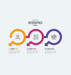 Three steps timeline infographic template with vector