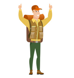 traveler standing with raised arms up vector image