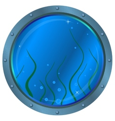 Window porthole with seaweed vector