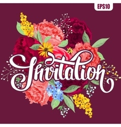 Invitation card with flowers and lettering vector