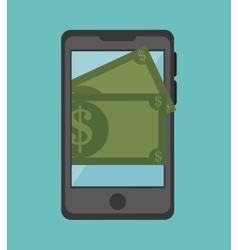 Cartoon smartphone money earnings design isolated vector