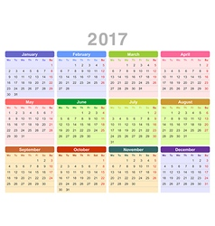 2017 year annual calendar monday first english vector