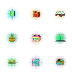 Construction of city icons set pop-art style vector