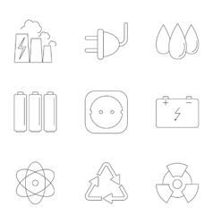 Various energy icons set outline style vector