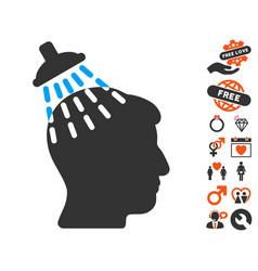 Head shower icon with dating bonus vector