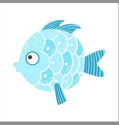 Round blue scaled fantastic colorful aquarium fish vector