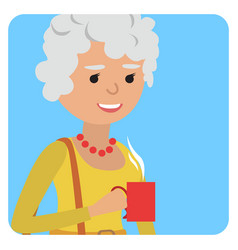 Woman with cup in her hand drinking hot coffee vector