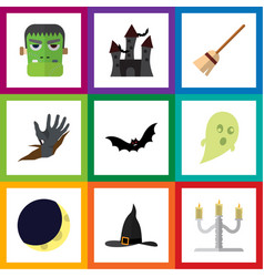 Flat icon halloween set of superstition crescent vector