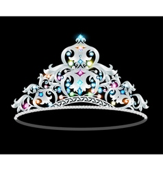 Crown tiara women with glittering precious vector