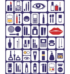 Cosmetics icons on white vector