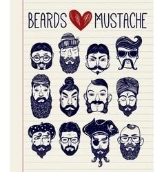 Mustache beard style set vector image
