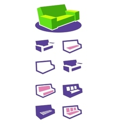 Set of icons sofa vector