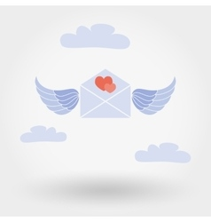 Envelope with wings and two hearts in the clouds vector