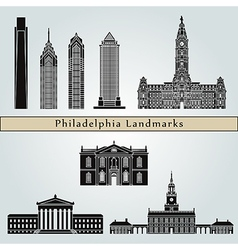 Philadelphia landmarks and monuments vector