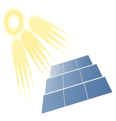 Solar batteries and sun vector