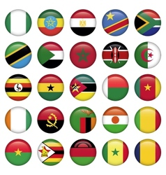 African Flags Round Icons vector image