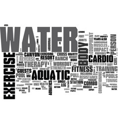 Aquatic exercise equipment text word cloud concept vector