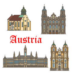 architecture landmarks of austria icons vector image vector image