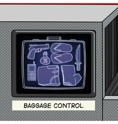 Baggage control pop art style vector