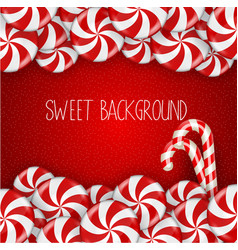 bright candy on red background vector image vector image