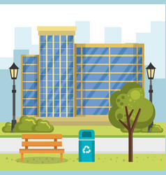 Buildings with cityscape scene vector
