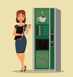 Business woman drinking coffee near coffee vector