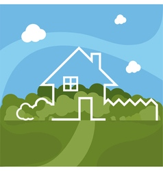 Cartoon house with garden vector
