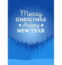 Christmas landscape background with falling snow vector image