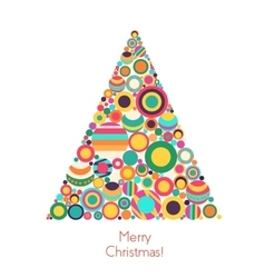 Christmas tree with flat geometrical circle vector